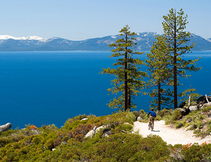 Mountain biking on the Flume Trail at Lake Tahoe, California