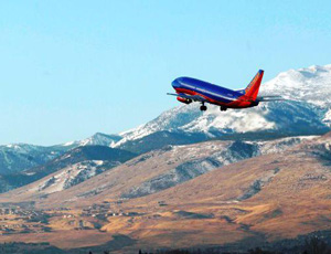 Flight taking off from Reno International Airport in Reno Nevada