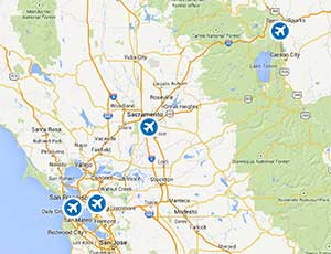 Regional map of airports near Lake Tahoe, California.