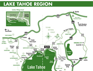 Map of greater Lake Tahoe area.
