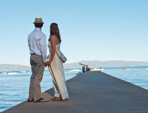 Wedding on the shores of Lake Tahoe in California.